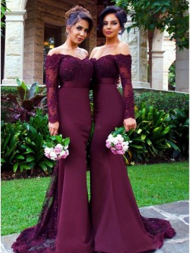 Elegant Burgundy Off the Shoulder Long Sleeves Beading with Lace Bridesmaid Dress