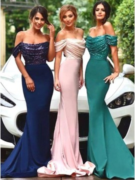 Gorgeous Mermaid Off-the-Shoulder Short Sleeves Sequins Bridesmaid Dress