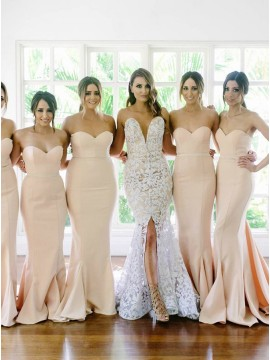 Hot Selling Champagne Mermaid Sweetheart Court Train Bridesmaid Dress