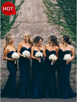 Mermaid Sweetheart Sleeveless Long Dark Navy Bridesmaid Dress