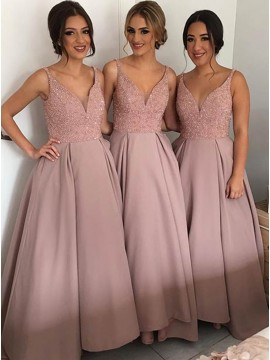 Glamorous Long V-Neck Sleeveless Bridesmaid Dress