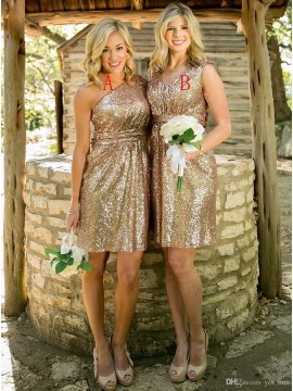 Shinning Gold One Shoulder Short Sequines Pleats Bridesmaid Dress