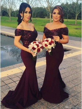 Stunning Burgundy Mermaid Off the Shoulder Sweep Train Sequins Bridesmaid Dress