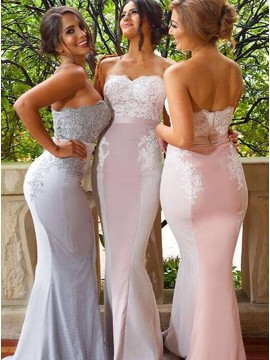 Mermaid Sweetheart Sweep Train Appliques Tight Bridesmaid Dress