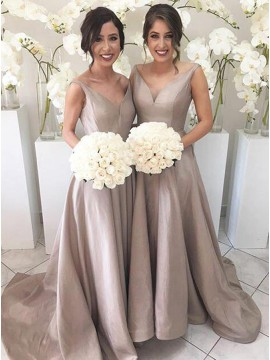 Simple Silver V-Neck Sleeveless High Low Sweep Train Bridesmaid Dress