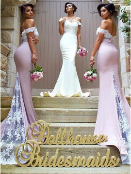 Elegant Off the Shoulder Sweep Train Lace Top Blush Mermaid Bridesmaid Dress with Sash