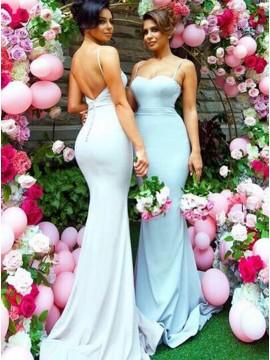 Adorable Blue Mermaid Spaghetti Straps Sweep Train Backless Bridesmaid Dress