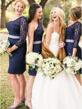 Sheath One Shoulder Knee-Length Navy Blue Lace Bridesmaid Dress
