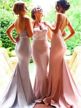 Decent Pink Mermaid Spaghetti Straps Sash with Lace Backless Bridesmaid Dress
