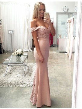 Elegant Blush Mermaid Off the Shoulder Floor-Length with Lace Bridesmaid Dress