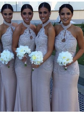Decent Blush Mermaid Halter Keyhole with Lace Backless Bridesmaid Dress