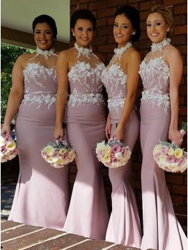 Elegant Blush Mermaid Halter Sleeveless Appliques Sash Bridesmaid Dress