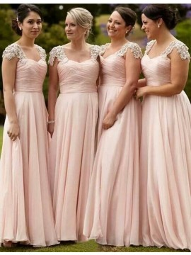 Stunning Pink Scoop Cap Sleeves Floor-Length Beading Pleats Bridesmaid Dress
