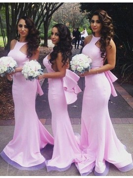 Dramatic Pink Mermaid Halter Sleeveless Floor-Length Bowknot Bridesmaid Dress