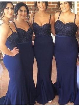 Elegant Navy Blue Spaghetti Straps Sweep Train Beading with Lace Bridesmaid Dress