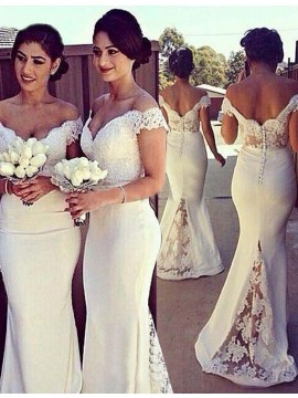 Honorable White Off the Shoulder Floor-Length with Lace Bridesmaid Dress