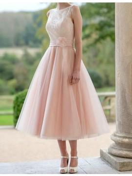 Simple Pearl Pink Bateau Sleeveless Tea-Length Flower with Lace Bridesmaid Dress