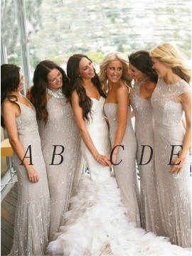 Simple Silver V-Neck Sleeveless Floor-Length Lace Mermaid Bridesmaid Dress