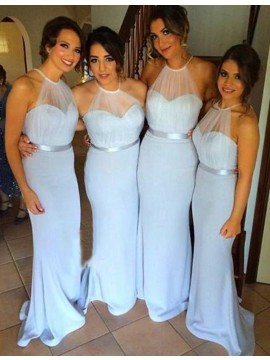 Simple Blue Mermaid Halter Sleeveless Floor-Length Backless Bridesmaid Dress