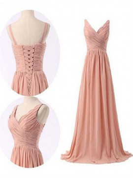 Simple Peach Bridesmaid Deep V-Neck Floor-Length Pleats Lace-up Bridesmaid Dress