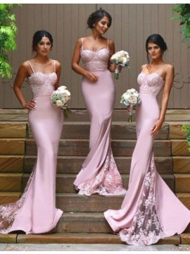 Generous Pink Mermaid Spaghetti Straps Sweep Train with Lace Bridesmaid Dress