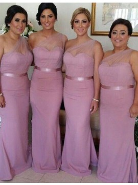 Simple Pink Mermaid One Shoulder Sleeveless Floor-Length Bridesmaid Dress