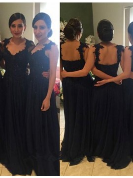 Elegant Black Scoop Sleeveless Floor-Length with Lace Bridesmaid Dress