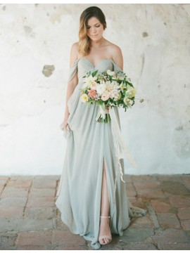Simple Grey Off the Shoulder Backless Sweep Train Pleats Bridesmaid Dress