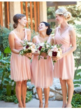 Simple A-Line V-Neck Sleeveless Short Bridesmaid Dress