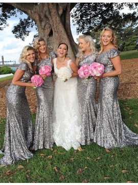 Elegant Silver Mermaid Crew Short Sleeves Sweep Train Sequined Bridesmaid Dress