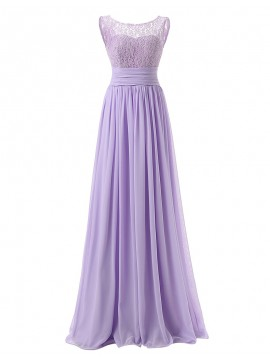 Simple Lilac Crew Sleeveless Sweep Train Pleats Lace Top Bridesmaid Dress