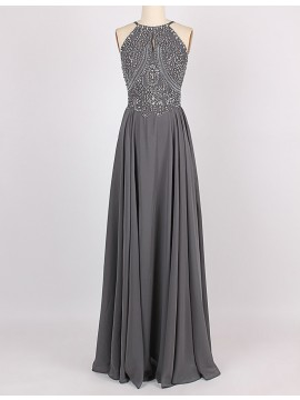 A-Line Halter Sleeveless Floor-Length Grey Prom Dress with Beading