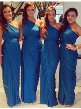 Simple Blue One Shoulder Sleeveless Ankle-Length Pleats Bridesmaid Dress