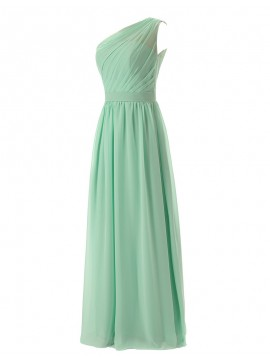 Simple Mint One Shoulder Sleeveless Ankle-Length Pleats Bridesmaid Dress