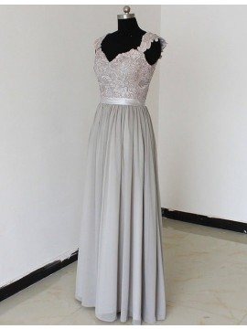 Dramatic Grey V-neck Cap Sleeves Floor-Length with Lace Backless Bridesmaid Dress