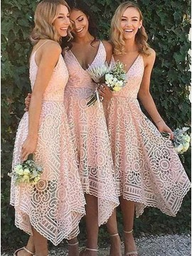 A-Line V-Neck Asymmetrical Pink Lace Bridesmaid Dress