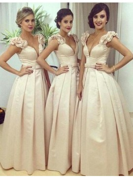 A-line Deep V-Neck Sleeveless Floor Length Beige Bridesmaid Dress with Pleats Bowknot