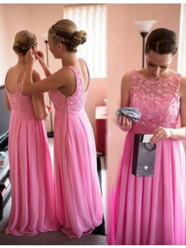 Charming Pink Bateau Sleeveless Floor Length Pleated with Lace Bridesmaid Dress