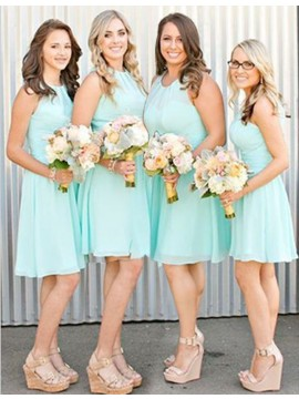 Simple Mint Jewel Sleeveless with Pleats Short Bridesmaid Dress