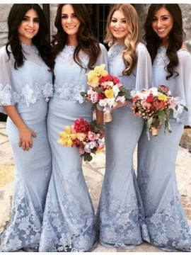 Gorgeous Lavender V Neck Sweep Lace Train with Shawl Mermaid Bridesmaid Dress