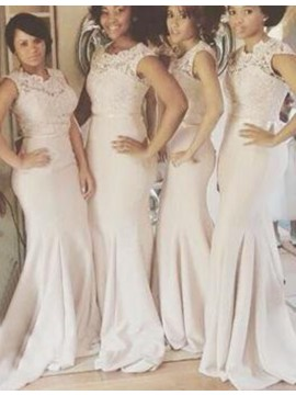 Nice Ivory Jewel Sweep Train with Sash Lace Mermaid Bridesmaid Dress