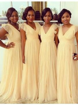 Simple Daffodil V Neck Sweep Train Cap Sleeves Pleated Bridesmaid Dress