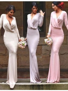 Amazing Pink/Lavender/Ivory Deep V Neck Mermaid Long Sleeves Sweep Train Bridesmaid Dress