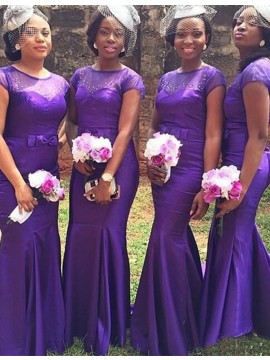 Mermaid Jewel Short Sleeves Purple Long  Bridesmaid Dress with Bownot