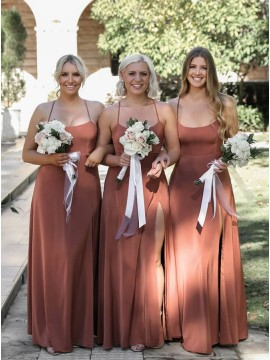 Simple Criss-Cross Straps Back Dusty Rose Bridesmaid Dress