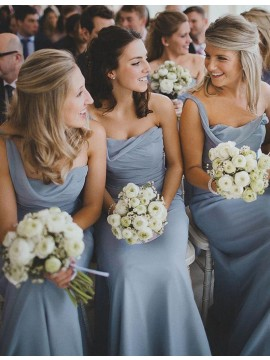 Glamorous Blue One Shoulder Floor Length Ruched Bridesmaid Dress