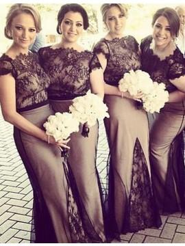 Nice Black Sheath Scalloped-Edge Cap Sleeves with Lace Long Bridesmaid Dress