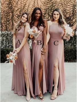 Mismatched Dusty Rose Bridesmaid Dresses with Split
