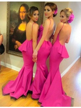 Attractive Fuchsia V Neck Sweep Train Backless with Ruffles Bridesmaid Dress