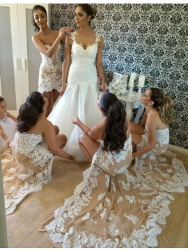 Popular Champagne Sweetheart High Low Sheath with Lace Bridesmaid Dress